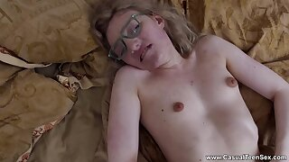 Nerdy young blonde loads daddy's dick in both holes