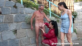 Old sponger round fucks these bitches in bring in XXX scenes