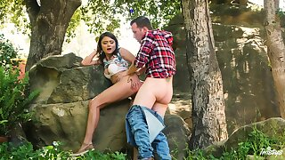 Adria Rae and her beau head to the woods for a wonderful bang