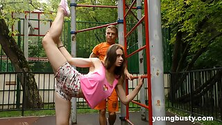 Flexible naturally busty teen gets fucked after some with an eye to street workout