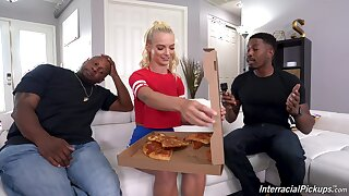 young blonde knows the right solution to please these black hunks