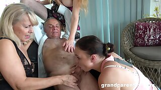 Old tramp takes his pill and fucks the slutty mature in crazy action