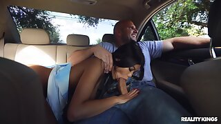 Anal for the Lilliputian Asian after rough back seat deepthroat