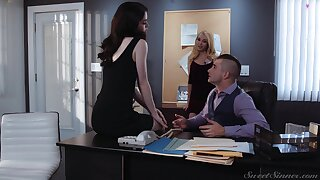 Hot male fucks both whores on tap the office