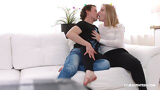 Perfect blonde with nice ass, insane couch sex at domicile