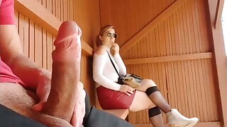 I pull out my cock at a catch bus stop, incredible reaction!!