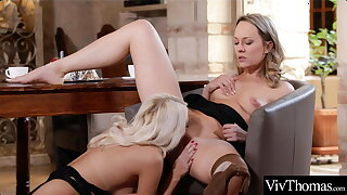 Sexy blondes give turns eating each other's moist pussies