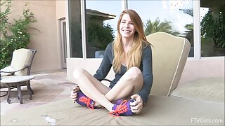 Ductile solo girl takes off her clothes and plays with a vibrator